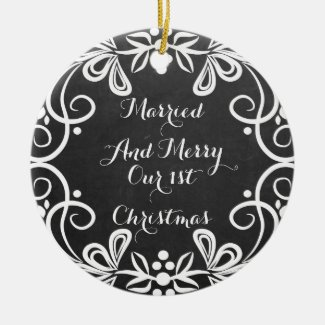 Married And Merry First Christmas Photo Chalkboard Double-Sided Ceramic Round Christmas Ornament
