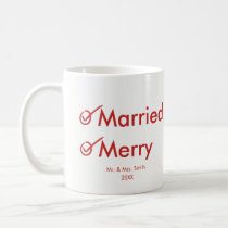Married and Merry   First Married Christmas Coffee Mug