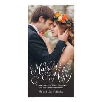 Married and Merry Hand Lettered Holiday Photo Card