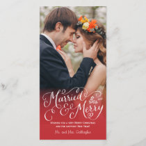 Married and Merry Hand Lettered Red Holiday