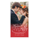 Married and Merry Hand Lettered Red Holiday Card