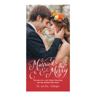 Married and Merry Hand Lettered Red Holiday Photo Card