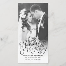 Married and Merry Hand Lettered White Holiday