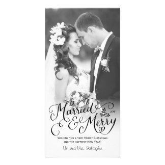 Married and Merry Hand Lettered White Holiday Photo Card