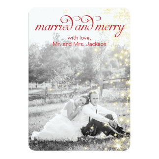 MARRIED and MERRY Holiday Flat Card Personalized Invitation