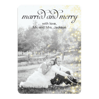 MARRIED and MERRY Holiday Flat Card Custom Announcements