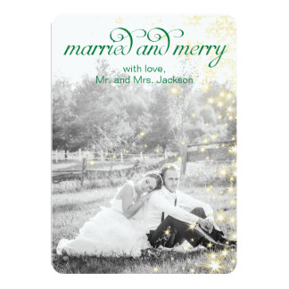 MARRIED and MERRY Holiday Flat Card Personalized Invite