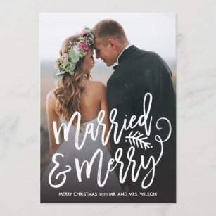 Chic Holiday Wedding Announcements Newlywed Christmas Cards Zazzle