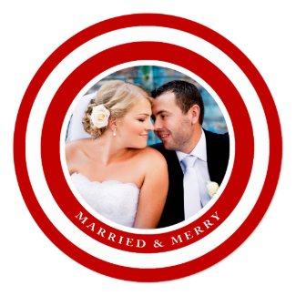 Married and Merry Holiday Photo Card / Red