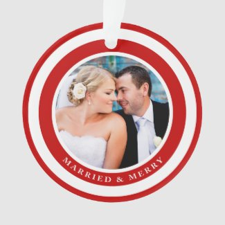 Married and Merry Holiday Photo Ornament / Red