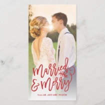 Married and Merry Holiday Photo Red