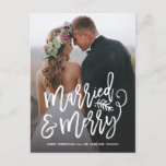 """Married and Merry Holiday Thank You Photo<br><div class=""""desc"""">Make a stunning statement this holiday season with this stylish full-bleed 1 photo holiday card featuring &quot;married and merry&quot; in a chic script font. Perfect for the newly married couple to use as a wedding announcement or thank you card around the holidays. Add your own sentiment on the back. Shop...</div>"""