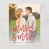 Married and Merry Holiday Thank You Photo Red