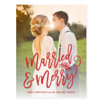 Married and Merry Holiday Thank You Photo Red Postcard