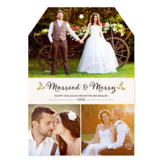 Married and Merry Holly Christmas Photo Card