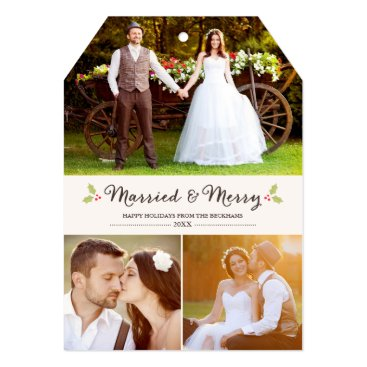 Christmas Themed Married and Merry Holly Christmas Photo Card