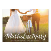 """Married and Merry Landscape Holiday Card 5"""" X 7"""" Invitation Card"""
