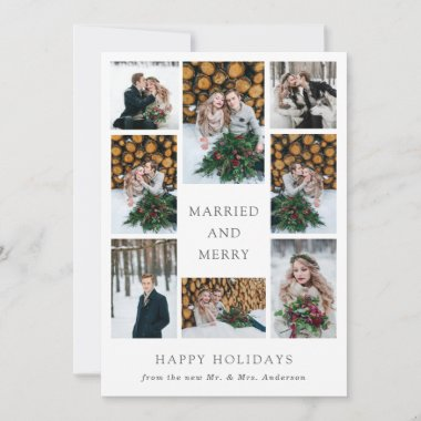 Married and Merry   Multi Photo First Christmas Holiday Card