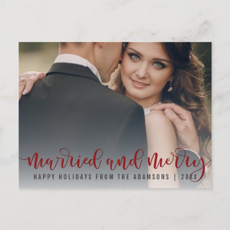 Married And Merry Red Calligraphy | Newlywed Photo Holiday Postcard