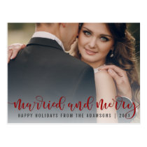 Married And Merry Red Calligraphy | Newlywed Photo Postcard