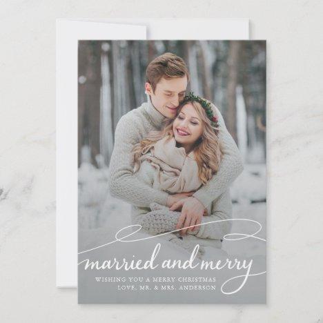 married and merry Stylish Swirl Wedding Photo Holiday Card