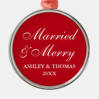 Married and Merry Wedding Christmas Red Round Metal Ornament