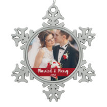 Married and Merry Wedding Photo Red Snowflake Pewter Christmas Ornament