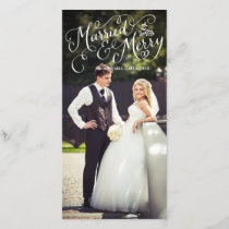 Married and Merry White Hand Lettered Holiday