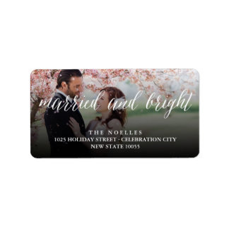 Married & Bright 1st Christmas Holiday Photo Label