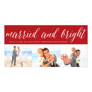 Married & Bright 1st Christmas Photo Collage Card