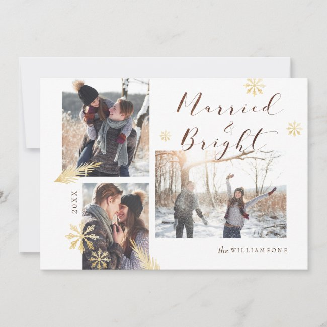 Married & Bright Rustic Wood Gold Snowflake Photo Holiday Card