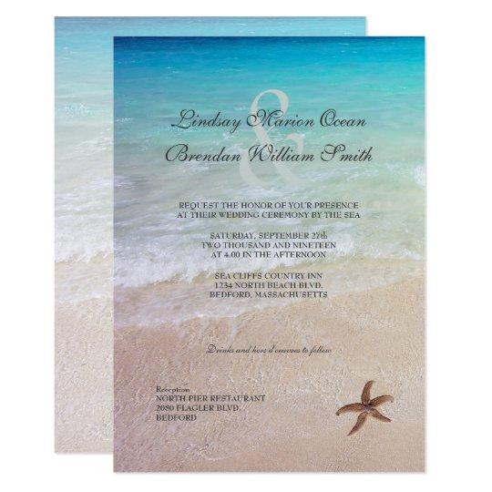 Married By The Sea Beach Destination Wedding Invitation