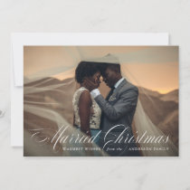 Married Christmas | Burgundy Holiday Photo Card