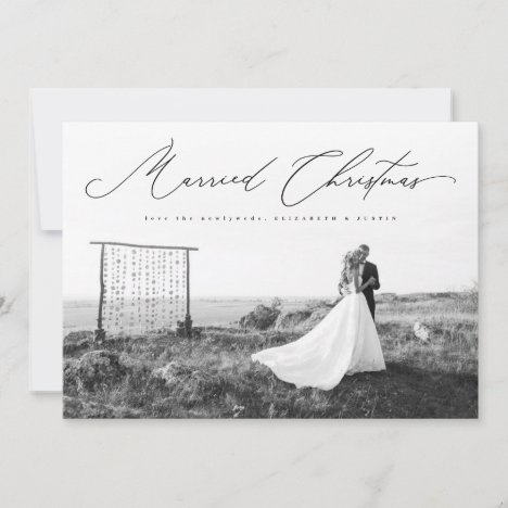 Married Christmas Calligraphy Script Newlywed Holiday Card
