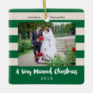 Married Christmas For Newlyweds, Photo Ceramic Ornament