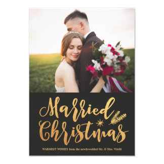 Married Christmas Holiday Photo Card | Gold