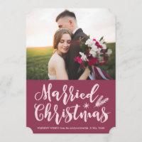 Married Christmas Holiday Photo Card | Mauve