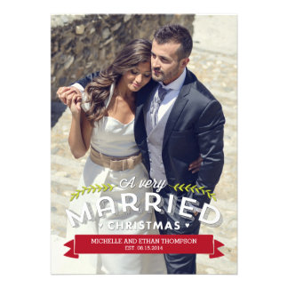 Married Christmas Holiday Photo Cards Personalized Invite
