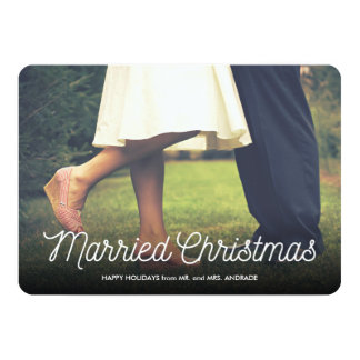 Married Christmas Newlywed Holiday Photo Elegant 5x7 Paper Invitation Card