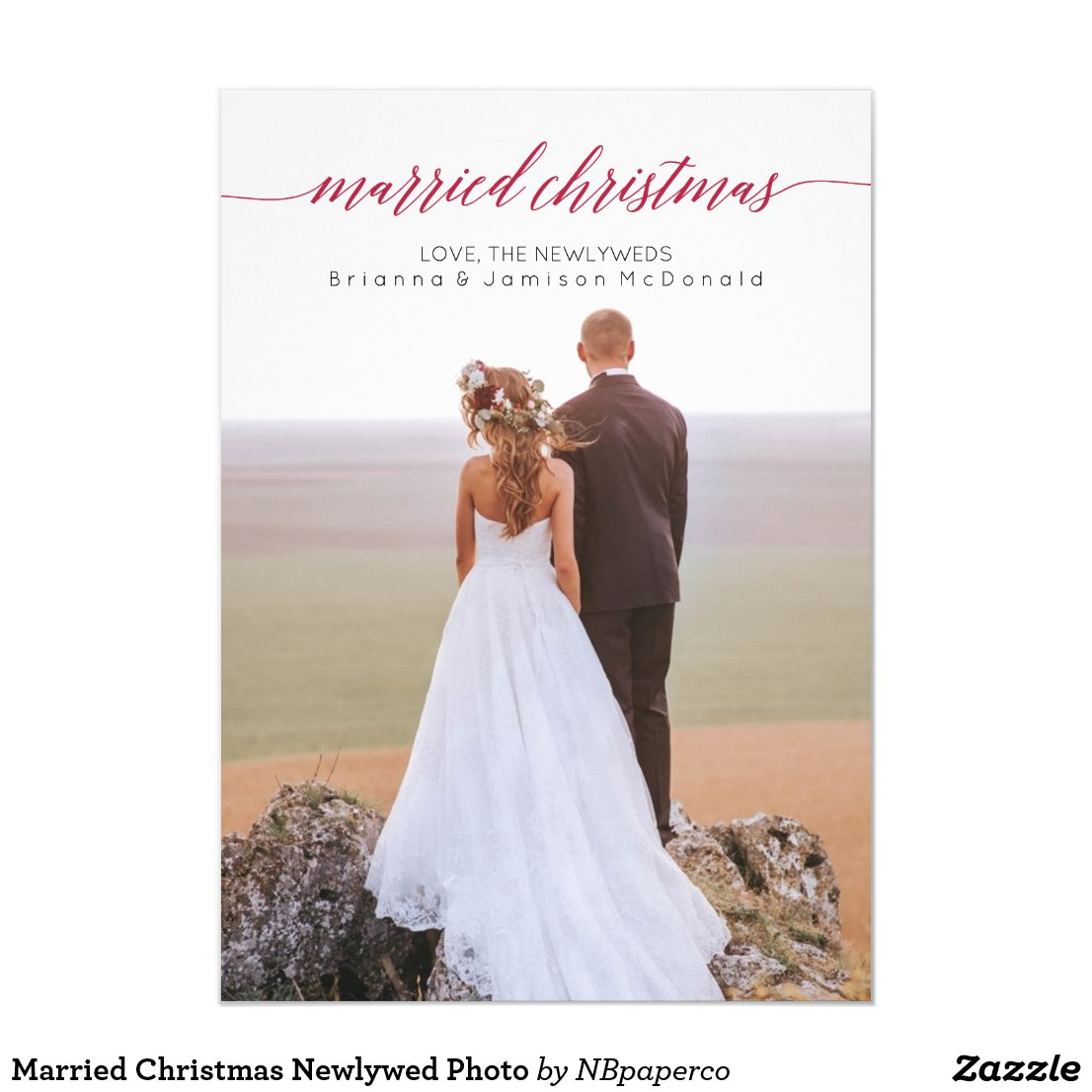Married Christmas Newlywed Photo