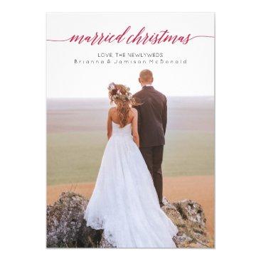 Christmas Themed Married Christmas Newlywed Photo Card