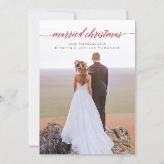 Married Christmas Newlywed Photo Holiday Card