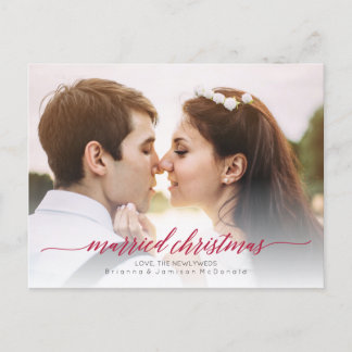 Married Christmas Newlywed Photo Holiday Postcard