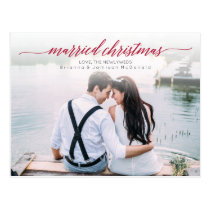 Married Christmas Newlywed Photo Postcard