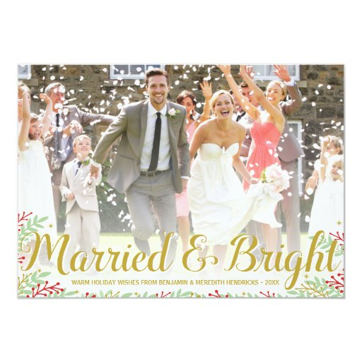 Married Christmas Newlyweds Holiday Photo Card