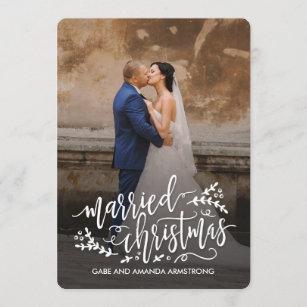 Married Christmas Newlyweds Holiday Photo Cards