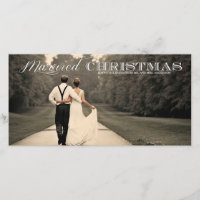 Married Christmas Typography Holiday Photo Card
