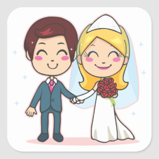 Married Couple Holding Hands Square Sticker