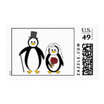 Married Couple Penguins Postage