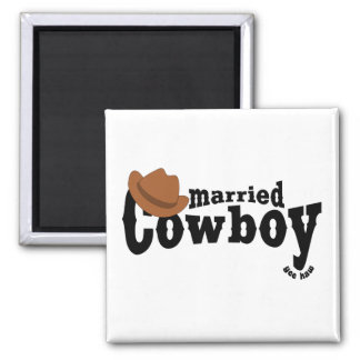 married cowboy 2 inch square magnet